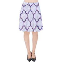 Tile1 White Marble & Purple Marble (r) Velvet High Waist Skirt by trendistuff