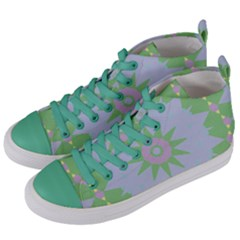 Lilac Purple Green Pink Yellow Blue 59 Women s Mid Top Canvas Sneakers by CircusValleyMall