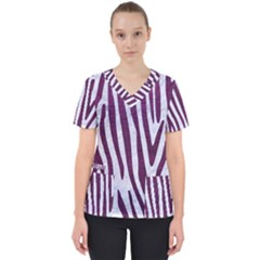 Skin4 White Marble & Purple Leather Scrub Top by trendistuff
