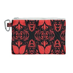 Christmas Red And Black Background Canvas Cosmetic Bag (large) by Sapixe