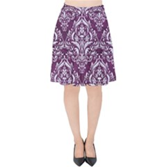 Damask1 White Marble & Purple Leather Velvet High Waist Skirt by trendistuff