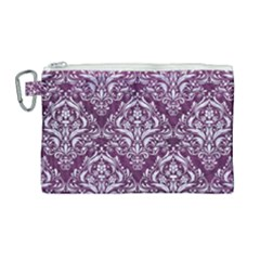 Damask1 White Marble & Purple Leather Canvas Cosmetic Bag (large) by trendistuff