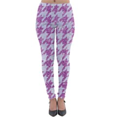 Houndstooth1 White Marble & Purple Glitter Lightweight Leggings by trendistuff