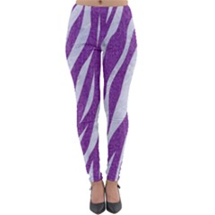 Skin3 White Marble & Purple Denim Lightweight Velour Leggings by trendistuff
