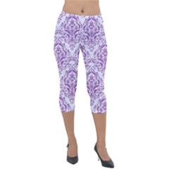 Damask1 White Marble & Purple Denim (r) Lightweight Velour Capri Leggings  by trendistuff