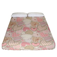 Cute Romantic Hearts Pattern Fitted Sheet (california King Size)