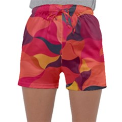 Red Orange Yellow Pink Art Sleepwear Shorts by yoursparklingshop