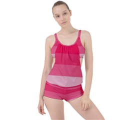 Pink Scarlet Gradient Stripes Pattern Boyleg Tankini Set