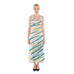 Twist Yellow Dark Green Sleeveless Maxi Dress