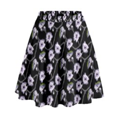 Floral Pattern Black Purple High Waist Skirt by goodart