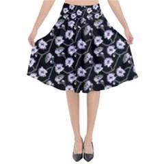 Floral Pattern Black Purple Flared Midi Skirt