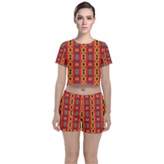 Tribal Shapes In Retro Colors                           Crop Top And Shorts Co Ord Set by LalyLauraFLM