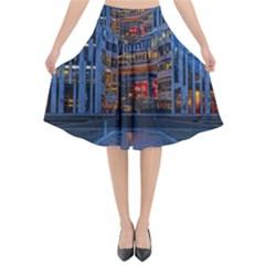Architecture Modern Building Flared Midi Skirt