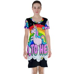 Go To Hell   Unicorn Short Sleeve Nightdress by Valentinaart