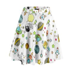 Space Pattern High Waist Skirt by Valentinaart