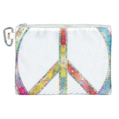 Flourish Decorative Peace Sign Canvas Cosmetic Bag (xl) by Simbadda