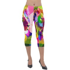 Animal Colorful Decoration Lion Lightweight Velour Capri Leggings  by Simbadda