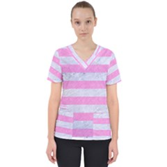 Stripes2white Marble & Pink Colored Pencil Scrub Top by trendistuff