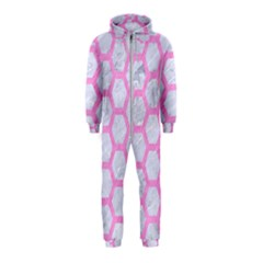 Hexagon2 White Marble & Pink Colored Pencil (r) Hooded Jumpsuit (kids) by trendistuff