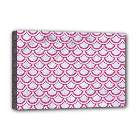 Scales2 White Marble & Pink Denim (r) Deluxe Canvas 18  X 12   by trendistuff