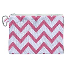 Chevron9 White Marble & Pink Denim (r) Canvas Cosmetic Bag (xl) by trendistuff