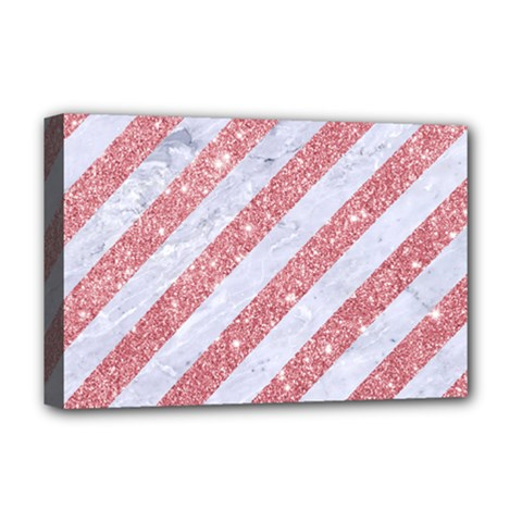 Stripes3 White Marble & Pink Glitter (r) Deluxe Canvas 18  X 12   by trendistuff
