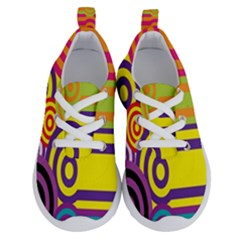 Retro Circles And Stripes 60s Running Shoes by goodart
