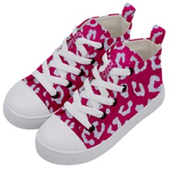 Skin5 White Marble & Pink Leather (r) Kid s Mid Top Canvas Sneakers by trendistuff