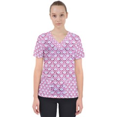 Scales2 White Marble & Pink Marble (r) Scrub Top by trendistuff