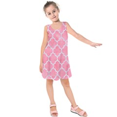 Tile1 White Marble & Pink Watercolor Kids  Sleeveless Dress by trendistuff