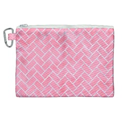 Brick2 White Marble & Pink Watercolor Canvas Cosmetic Bag (xl) by trendistuff