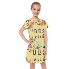Best Wishes Yellow Flower Greeting Kids  Drop Waist Dress by Sapixe