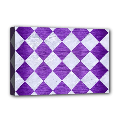 Square2 White Marble & Purple Brushed Metal Deluxe Canvas 18  X 12   by trendistuff