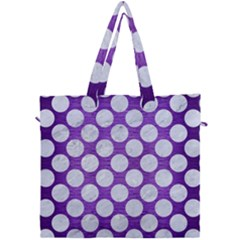 Circles2 White Marble & Purple Brushed Metal Canvas Travel Bag by trendistuff