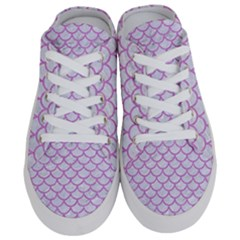 Scales1 White Marble & Purple Colored Pencil (r) Half Slippers by trendistuff