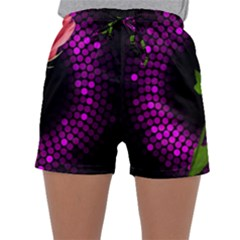 Rosa Black Background Flash Lights Sleepwear Shorts by Sapixe