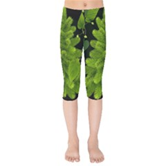 Decoration Green Black Background Kids  Capri Leggings  by Sapixe