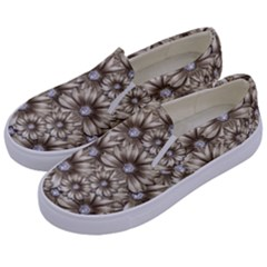 Background Flowers Kids  Canvas Slip Ons by Sapixe