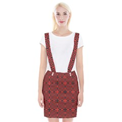Abstract Background Red Black Braces Suspender Skirt by Sapixe