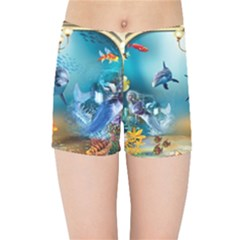 Dolphin Art Creation Natural Water Kids Sports Shorts by Sapixe