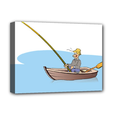 Fishing Fish Fisherman Boat Mare Deluxe Canvas 16  X 12   by Sapixe