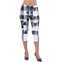 Geometry Square Black And White Lightweight Velour Capri Leggings  by Sapixe