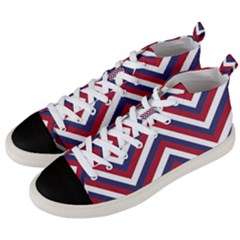 United States Red White And Blue American Jumbo Chevron Stripes Men s Mid Top Canvas Sneakers by PodArtist