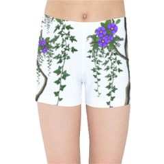 Image Cropped Tree With Flowers Tree Kids Sports Shorts by Sapixe
