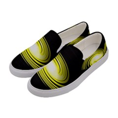 Fractal Swirl Yellow Black Whirl Women s Canvas Slip Ons by Sapixe