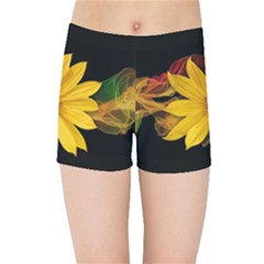 Sun Flower Blossom Bloom Particles Kids Sports Shorts by Nexatart