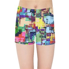 Color Abstract Background Textures Kids Sports Shorts by Nexatart