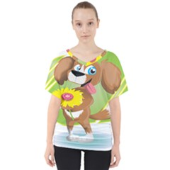 Dog Character Animal Flower Cute V Neck Dolman Drape Top by Sapixe