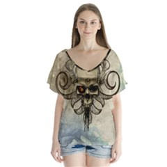 Awesome Creepy Skull With  Wings V Neck Flutter Sleeve Top by FantasyWorld7