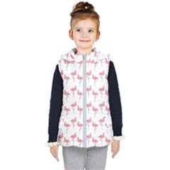 Pink Flamingo Pattern  Kid s Hooded Puffer Vest by CrypticFragmentsColors